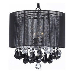 The Gallery - Crystal chandelier with Large Black Shade, Jet Black Crystalendant - 100% crystal chandelier. A Great European Tradition. Nothing is quite as elegant as the fine crystal chandeliers that gave sparkle to brilliant evenings at palaces and manor houses across Europe. This beautiful chandelier has 3 lights and is decorated and draped with 100% crystal that captures and reflects the light of the candle bulbs. This wonderful chandelier also comes with the large shade as shown. The timeless elegance of this chandelier is sure to lend a special atmosphere anywhere its placed!