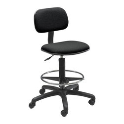 Safco - Economy Extended Height Chair in Black - One touch pneumatic seat height control. Manual height and depth adjustments. Deep and comfortable seat cushion. Five star nylon-reinforced base. Chrome plated adjustable foot ring. 360 degree swivel. Dual wheel hooded carpet casters. 30% polyester and 70% olefin upholstery. Weight capacity: 250 lbs.. Made from nylon. Assembly required. Seat Size: 18.75 in. W x 16.5 in. D. Back Size: 16 in. W x 9.5 in. H. Seat Height: 23 - 33 in.. Overall: 25 in. Diameter x 36 - 46 in. H (23 lbs.). Assembly Instruction
