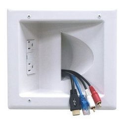 Peerless - PEERLESS-AV IBA5-W In-Wall Plastic Cable Plate (With Surge Suppressor) - � 15A/125V duplex receptacle power source with surge suppressor protection;� Component cables round inside the wall;� Wing design eliminates need for low-voltage mounting brackets;� Includes installation template;� Small;� White