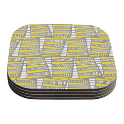"""Kess InHouse - Gill Eggleston """"Jaggi Yellow Grey"""" Coasters (Set of 4) - Now you can drink in style with this KESS InHouse coaster set. This set of 4 coasters are made from a durable compressed wood material to endure daily use with a printed gloss seal that protects the artwork so you don't have to worry about your drink sweating and ruining the art. Give your guests something to ooo and ahhh over every time they pick up their drink. Perfect for gifts, weddings, showers, birthdays and just around the house, these KESS InHouse coasters will be the talk of any and all cocktail parties you throw."""