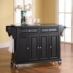 Crosley Furniture - Solid Black Granite Top Kitchen Cart/Island i - Beautiful Raised Panel Doors. Brushed Nickel Hardware. Total of Three Adjustable Shelves Inside Cabinet. Spice Rack with Towel Bar. Towel Bar / Paper Towel Holder. Solid Black Granite Top. Solid Hardwood & Veneer Construction. 36in. H x 52in. W x 18in. D (160.5 lbs)Constructed of solid hardwood and wood veneers, this mobile kitchen cart is designed for longevity. The beautiful raised panel doors and drawer fronts provide the ultimate in style to dress up your kitchen. Two deep drawers are great for anything from utensils to storage containers. Behind the four doors, you will find adjustable shelves and an abundance of storage space for things that you prefer to be out of sight. The heavy duty casters provide the ultimate in mobility. When the cabinet is where you want it, simply engage the locking casters to prevent movement. Style, function, and quality make this mobile kitchen cart a wise addition to your home.