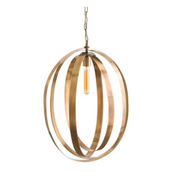 """Arteriors - Niles Pendant - Vintage brass bands are pinned at the top and bottom allowing the bands to swivel or move at your touch creating an eye-catching framework around a single bulb.  Perfect for a staircase as it is beautiful from above and below.  Additional chain available.  Overall Adjustable Depth: 1 1/2-20"""" d  Plug: Hardwired.  Voltage: 110-120 Volt.  Canopy: 5 3/4"""" round.  Socket Quantity: 1  Socket Wattage: 60"""
