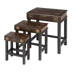 """Benzara - 3-Piece Nesting Table Set Wood and Leather Book Table Accent Collection - 3-Piece nesting table set wood and leather book table 24"""", 19"""", 15""""H Accent collection. Some assembly may be required. Size: Large - 20 x 14 x 24 inch; Medium - 18 x 12 x 19 inch; Small - 16 x 9 x 15 inch Weight: 28.67 pounds. Material: wood and leather"""