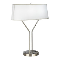 """Lamps Plus - Contemporary Idell Brushed Steel USB Port Table Lamp with Power Outlet - Contemporary table lamp. Brushed steel finish. Features 2 convenience outlet and a USB port at the base. Includes two 26 watt GU24 base CFL bulbs. Dedicated GU24 sockets. On-off switch on base. 8' black cord. Shade measures 22"""" wide and 11 1/2"""" deep across the top 22"""" wide and 9 1/2"""" deep across the bottom 8 1/2"""" high. 29"""" high.  Contemporary table lamp.  Brushed steel finish.  Features 2 convenience outlet and a USB port at the base.  Includes two 26 watt GU24 base CFL bulbs.  Dedicated GU24 sockets.  On-off switch on base.  8' black cord.  Shade measures 22"""" wide and 11 1/2"""" deep across the top 22"""" wide and 9 1/2"""" deep across the bottom 8 1/2"""" high.  29"""" high."""