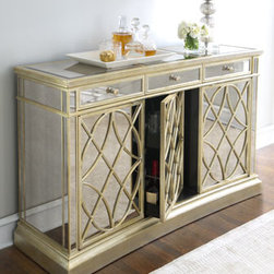 Horchow - Amelie Three-Door Mirrored Console - Beveled mirror panels adorn the top, front, and sides of this glamorous console. A new twist on the traditional console, it offers a variety of storage options. Imported. Three storage drawers. Two adjustable shelves behind the first door. Second doo...