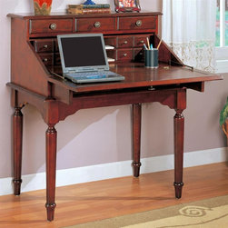 Coaster - Secretary Desk - Thirteen drawers. Turned legs. Shaped aprons. Antiqued brass finish metal hardware. Made from wood. 36 in. W x 22 in. D x 42 in. H. WarrantyAdd this lovely traditional secretary desk to your home office or work area for a compact work space that will meet your needs. The front drops down to reveal a generously sized work surface that is ideal for laptop computer use. Place this desk in a hallway to stash keys, mail and other items while on the go. The rich medium wood finish will blend easily with your decor, for a warm and inviting look that you will love.