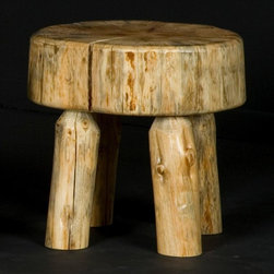Viking Log Furniture - Log Sitting Stool in Clear Finish (Clear) - Finish: Clear. Made to order in the US. Pictured in Clear. Lifetime warranty. 18 in. Dia. x 17 in. HThe Log Sitting Stool goes great with any rustic or lodge decor. It is great in an entry area for putting your boots on, to use as a side table next to your log bed or just for additional seating. If the log sitting stool is finished in an exterior finish it can also be used outside in a patio area for seating. The photo shows the season checking in the log sitting stool seat which is a radial crack from the edge of the log to the center of the log. Season checking is part of the normal drying process of the log and cannot be avoided.