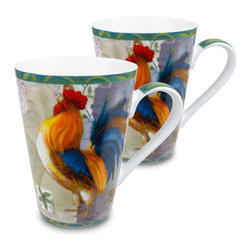 Konitz - Set of 2 Rooster Mugs - Now you too can have a rooster greet you as you wake up in the morning. Fill up this Morning Star Rooster Mug with coffee and you're sure to be wide awake! Strutting rooster shows off a beautiful plume of colorful feathers.