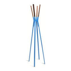 Blu Dot - Blu Dot Splash Coat Rack, Bright Blue - Powder-coated steel and solid walnut stand at the ready to relieve you of jackets, hats, scarves and bags in style.  Dress it up or keep it naked.  Either way it remains easy on the eyes. Who says utility can�۪t be attractive?  Available in bright blue, complete yellow, putty grey, humble red, and white.Powder-coated steel, Felt pads on bottom of legs, Solid Walnut