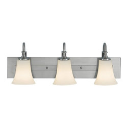 Modern Bathroom Light with White Glass in Brushed Steel Finish -