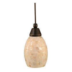 "Toltec - Toltec 22-Dg-406 Cord Mini Pendant Shown in Dark Granite Finish - Toltec 22-DG-406 Cord Mini Pendant Shown in Dark Granite Finish with 5"" Sea Shell Glass"