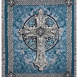 `Crosswalk` Blue Celtic Cross Tapestry Throw Blanket 50 In. X 60 In. - This multicolored woven tapestry throw blanket is a wonderful addition to any home. Made of cotton, the blanket measures 50 inches wide, 60 inches long, and has approximately 1 1/2 inches of fringe around the border. The blue, white and gray blanket features an ornate cross in the center, bordered on all four sides with Celtic Endless Knot patterns. Care instructions are to machine wash in cold water on a delicate cycle, tumble dry on low heat, wash with dark colors separately, and do not bleach. This comfy blanket makes a great gift for friends and family.