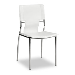 ZUO MODERN - Trafico Dining Chair White (set of 4) - As conference or dining chair, the Trafico simply works. It is made with a leatherette sling and a chromed steel tube frame.