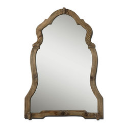 Uttermost - Uttermost Agustin Light Walnut Mirror 07632 - This ornate mirror features a light, walnut stained wood frame with burnished details.