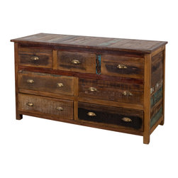 Stripped Wood 7-drawer Chest - Product Features: