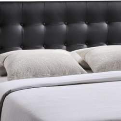 Modway Imports - Modway MOD-5171-BLK Emily Queen Vinyl Headboard In Black - Modway MOD-5171-BLK Emily Queen Vinyl Headboard In Black