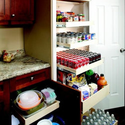 Pull Out Pantry Shelves - Full extension pull out pantry shelves from ShelfGenie of New Jersey will organize everything within your cabinets.  Best of all, they're custom made to fit your existing cabinets and closets so there's no need to go to the expense and inconvenience of replacing your cabinetry.