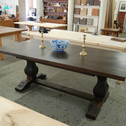 French Trestle Table - French Trestle Table Stained Dark Walnut