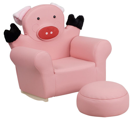 Flash Furniture - Flash Furniture Kids Pig Rocker Chair and Footrest - Kids will now get to enjoy furniture designed specifically for their size! This pig themed chair will be a charming piece of furniture that your child is sure to love. This portable chair is great for seating in any room. The vinyl upholstery ensures easy cleaning after accidents or for quick wipe offs.