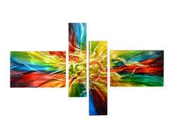 Matthew's Art Gallery - Metal Wall Art Abstract Modern Contemporary Sculpture Handmade Large Color Burst - Name: Color Burst