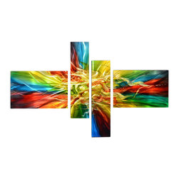 Matthew's Art Gallery - Metal Wall Art Abstract Modern Contemporary Sculpture Handmade Large Color Burst - Name: Color Burst