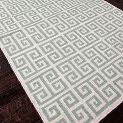Urban Bungalow Light Turquoise Flat Weave Rug - 2' x 3' - A block pattern of double volutes, as familiar from Greek architecture as from Chinese ornamentation, expresses the decorative universality of the spiral while favoring strong expressions of geometry in the Urban Bungalow Rug. A hand-woven, reversible wool rug with a flat pile, this transitional piece uses an instantly appealing ivory and light turquoise palette.