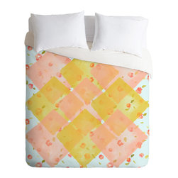 """DENY Designs - Hello Twiggs """"Spring Flowers"""" Duvet Cover - Turn your basic, boring down comforter into the super stylish focal point of your bedroom. Our Luxe Duvet is made from a heavy-weight luxurious woven polyester with a 50% cotton/50% polyester cream bottom. It also includes a hidden zipper with interior corner ties to secure your comforter. it's comfy, fade-resistant, and custom printed for each and every customer."""