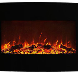 """Moda Flame - Chelsea 35"""" Curved Black Wall Mounted Electric Fireplace - The Chelsea electric wall mounted fireplace offers a fireplace at a touch of a button. The chic yet bold black curved electric fireplace offers a three setting. Have a fireplace effect only or two setting of high and low for heat."""