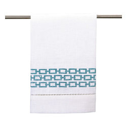 """DL Rhein - DL Rhein Chain Link Guest Towel Turquoise Set of 4 - Geometric chain links line the edge of DL Rhein's chic guest towel set. Finished with simple lace detailing, this contemporary accent lends a sophisticated vibe. 14""""W x 22""""H each; Set of 4; 100% cotton; Embroidered in turquoise blue; Machine wash"""