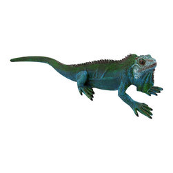 Realistic Blue/Green Iguana Garden Statue 16.5 In. - This little guy is right at home in your garden, causing friends and family to do a double take as they walk by! Made of cold cast resin, this lifelike iguana measures 16 1/2 inches long, 4 1/2 inches wide, and 4 inches high. It is wonderfully detailed, from the texture of its scaly skin to the blue and green colors. This piece is a great gift for lizard lovers, and it looks lovely displayed indoors or outdoors.