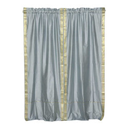 Indian Selections - Pair of Gray Rod Pocket Sheer Sari Curtains, 43 X 120 In. - Size of each curtain: 43 Inches wide X 120 Inches drop
