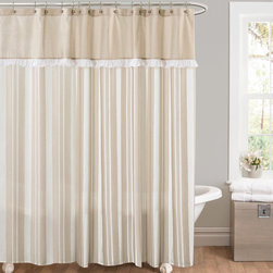 Lush Decor - Lush Decor Rowan Taupe Striped And Pieced Shower Curtain - This stunning Lush Decor shower curtain looks like it came right from an upscale spa. This curtain is fabricated from a polyester,striped fabric that is pieced with a solid header with a delicate ruffle detail to separate the two.