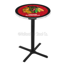 Holland Bar Stool - Holland Bar Stool L211 - Black Wrinkle Chicago Blackhawks Pub Table - L211 - Black Wrinkle Chicago Blackhawks Pub Table  belongs to NHL Collection by Holland Bar Stool Made for the ultimate sports fan, impress your buddies with this knockout from Holland Bar Stool. This L211 Chicago Blackhawks table with cross base provides a commercial quality piece to for your Man Cave. You can't find a higher quality logo table on the market. The plating grade steel used to build the frame ensures it will withstand the abuse of the rowdiest of friends for years to come. The structure is powder-coated black wrinkle to ensure a rich, sleek, long lasting finish. If you're finishing your bar or game room, do it right with a table from Holland Bar Stool.  Pub Table (1)