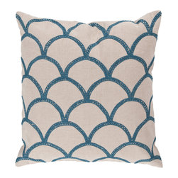 """Surya - Square Pillow COM-007 - 22"""" x 22"""" - Update your space with this perfect pillow! The scintillating scale design paired with the bold blue coloring radiates against the tan backdrop, creating a portrait of charm in any room. This pillow contains a zipper closure and provides a reliable and affordable solution to updating your home's decor."""