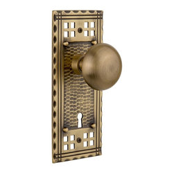 Nostalgic Warehouse - Nostalgic Craftsman Plate with New York Knob and Keyhole in Antique Brass - Inspired by the American Arts & Crafts movement of the early 1900s, the rugged design and hand-hammered details of the Craftsman Long Plate in antique brass emphasizes handwork over mass production. Add our New York knob, with its smooth round shape, for a look that will forever be refined. All Nostalgic Warehouse knobs are mounted on a solid (not plated) forged brass base for durability and beauty.