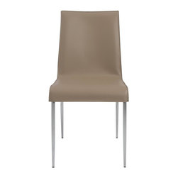 Euro Style - 18.5 in. Side Chair in Tan - Set of 2 - Set of 2. 1.5 mm thick chromed steel frame. Tan regenerated leather over foam seat. Brown edge piping. Tan thread. Smooth, easy to clean leather. Durable steel frame. Stylish edge piping on seat. Comfortable foam seat. Warranty: One year. No assembly required. Seat height: 18.5 in.. Overall: 22.5 in. W x 17.33 in. D x 33.67 in. HThree variations on a modern classic. The real leather seats and backs offer up a sense of elegant luxury. The chromed steel legs and footrests make them as strong as they are contemporary.