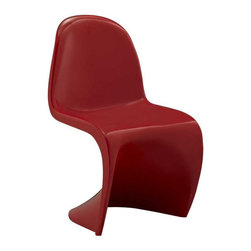 Modway - Slither Kids Chair in Red - Einstein may have shown that space was curved, but this chair gave tangible expression to the idea. Now over forty years since the Slither chair was first molded, budding scientists can rediscover the cosmos with this clean and durable playroom chair!