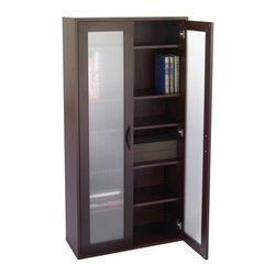 Safco - Storage Bookcase with Glass Doors Tall - Mahogany Brown - SPC386 - Shop for Bookcases from Hayneedle.com! Show your office clutter the doors on the Storage Bookcase with Glass Doors Tall - Mahogany. Perfect for maintaining a put-together look in your home office even when it isn't this bookcase has two frosted ribbed glass doors that discreetly conceal five adjustable shelves. Each shelf moves up and down in 2.5-inch increments to accommodate your storage needs. The dark mahogany finish adds elegance and the .75-inch furniture-grade laminate wood construction means this bookcase can withstand even the most rigorous workday. About Safco ProductsSafco products were specifically developed to meet the changing needs of the business world offering real design without great expense. Each product is designed to fit the needs of individuals and the way they work by enhancing comfort and meeting the modern needs of organization in the workplace. These products encourage work-area efficiency and ultimately work-life efficiency: from schools and universities to hospitals and clinics from small offices and businesses to corporations and large institutions airports restaurants and malls. Safco continues to offer new colors new styles and new solutions according to market trends and the ever-changing needs of business life.