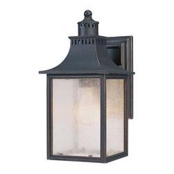 Joshua Marshal - One Light Slate Pale Cream Seeded Glass Wall Lantern - One Light Slate Pale Cream Seeded Glass Wall Lantern