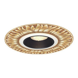 "Lamps Plus - Juno 6"" Black Recessed Trim with Florentine Sun Medallion - This repositionable designer ceiling medallion comes with a 6"" Juno black baffle trim and is perfect for use with recessed lighting. Based on original hand-painted artwork the medallion is printed on canvas using printers used for fine art reproductions and has a European Renaissance inspired pattern. To install peel the medallion from the backing position around the recessed can opening and reinstall the can baffle trim. Made with a sticky backing the medallion can be installed and removed dozens of times. The black baffle trim helps in absorbing stray light and features deep lamp shielding for maximum brightness control and a tapered baffle trim. Takes one 50 watt PAR30 bulb (not included). Trim to be used with Juno Lighting IC New Construction Non-IC New Construction and Non-IC Remodeling recessed light housing.  Set includes ceiling medallion and Juno black recessed trim.  Trim for use with a Juno 6"" recessed can light (not included).  Takes one 50 watt PAR30 bulb (not included).  Florentine Sun giclee pattern.  Position around can then reinstall trim.  Can be removed and repositioned dozens of times.  Use a wallpaper brush or smoother to remove any air bubbles.  12"" wide medallion.  6 1/2"" wide medallion opening.  6"" wide recessed baffle trim.  5 3/4"" aperture."