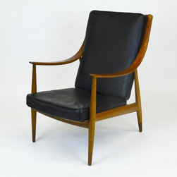 Peter Hvidt Armchair with Teak Wooden Frame & Leather cushioned Seat - Dimensions:L 26''  × W 32''  × H 37''