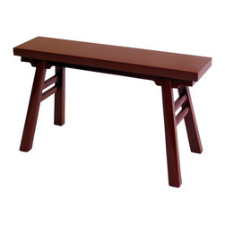 Gingko - Wabi Sabi Bench, Red - This hardworking bench is the perfect marriage of form and function. Use it as an entry perch, a side table, extra party seating or a tub-side towel rack. Handmade of solid elm, it features all hand-cut joints — no nails or screws involved.