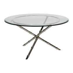 "Worlds Away - Worlds Away Nickel Plated Bamboo Coffee Table with 42""Dia Glass Top AVERY N42 - Worlds Away Nickel Plated Bamboo Coffee Table with 42""Dia Glass Top AVERY N42"