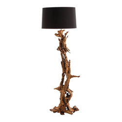 Kathy Kuo Home - Ashland Gold Leaf Dragon Mangrove Global Tree Root Floor Lamp - This impressive lamp is fashioned out of real mangrove tree root to create a piece of natural sculpture within your home.  The wooden base climbs up from the floor like a sturdy, twisting vine while the lamp's detailing - a shining gold-leaf finish and contrasting black lamp shade make it a glamorous addition to a modern urban loft or rustic home.