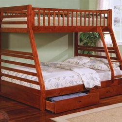 Coaster - Ogletown Twin Over Full Bunk Bed - Mattress not included. Twin over full bunk bed. Made from wood veneers and solids. Oak finish. Built-in ladder. Requires one twin and one double 9 in. thick mattress. Casual style. Built-in guard rails. Two under-bed storage drawers. Clean, smooth edges. 79 in. L x 57 in. W x 66 in. H. Warranty. Bunk Bed Warning. Please read before purchase.. NOTE: ivgStores DOES NOT offer assembly on loft beds or bunk bedsWith space saving features, the warm designs and functional character of this twin over full bunk bed will make wonderful addition to child's bedroom.