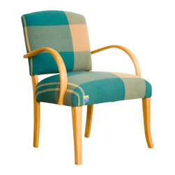 Maresa Patterson for NuBeHOME - Bent Maple Wool O' The West Armchair - Swooping arms hug an oversized turquoise and ivory swatch of vintage wool. We love the bold pattern and confident lines of the maple wood frame. Original springs, retied. BLANKET by Maresa Patterson for NuBeHOME. Measures 25 by 24 inches, 34 inches in height.