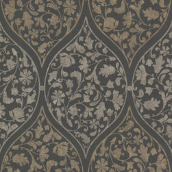 Adelaide Charcoal Ogee Floral  Wallpaper. - This ogee floral wallpaper reveals a voluptuous trellis and a swirling garden silhouette. Charcoal grey, flocked by shimmering pewter hues.