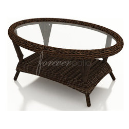 "Wicker Forever Patio Leona 43"" x 27.5"" Coffee Table with Glass Top - Above Item Includes:  (1) 43"" x 27.5"" Rectangular Leona Wicker Coffee Table & (1) Glass Top."