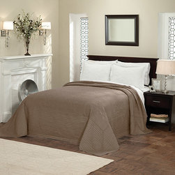Pem America - French Tile Taupe Queen Bedspread - - French tile taupe is a classic solid color detailed machine stitch bedspread pattern. This classic coordinate can be used in any room of the house. This quilt is a microfiber face material with a cotton filling   - 95% cotton/5% other fibers  - Cleaning Care: Machine wash cold/gentle, do not bleach, tumble dry low. Pem America - BQ7168TPQN-4400