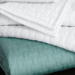 Garnet Hill - Garnet Hill Italian Palazzo Quilted Coverlet - Queen - Aqua Haze - Pure cotton sateen hand-quilted in a unique basketweave pattern, the Palazzo coverlet has a subtle luster and silky feel. 300 thread count. Italy.  Queen: 95 in. x 102 in. King: 110 in. x 102 in.